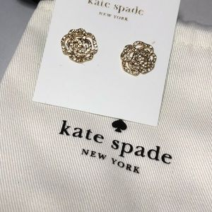 Kate Spade gold pave rose stud earrings